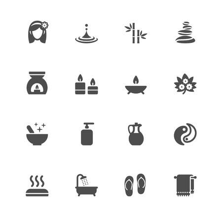 medical shower: Spa Icons with White Background Illustration