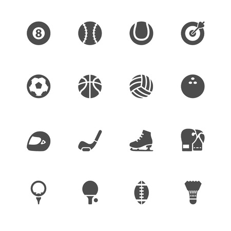 Sports Icons with White Background Illustration