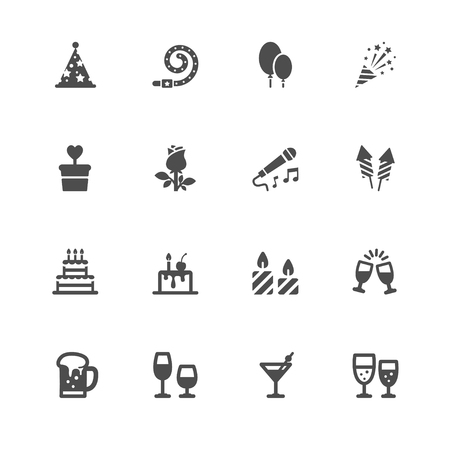 Party and Celebration Icons with White Background Ilustração