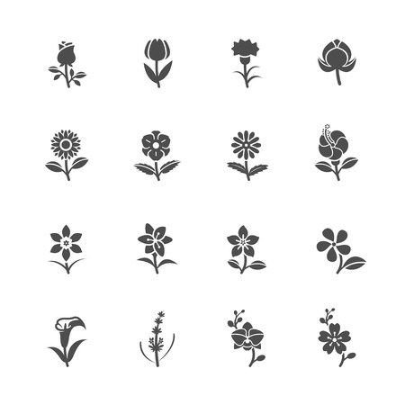 Flower Icons for Pattern with White Background Vettoriali