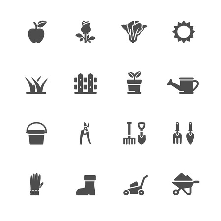 pail tank: Gardening Icons with White Background