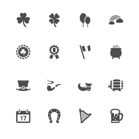 17: Saint Patricks Day Icons with White Background Illustration