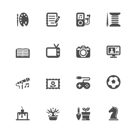 Hobbies Icons with White Background Ilustração