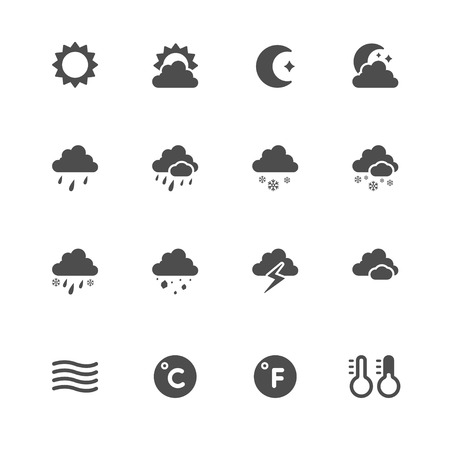 Weather Icons with White Background 向量圖像