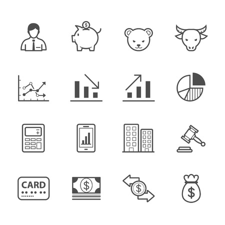 built: Business and Finance Icons Illustration