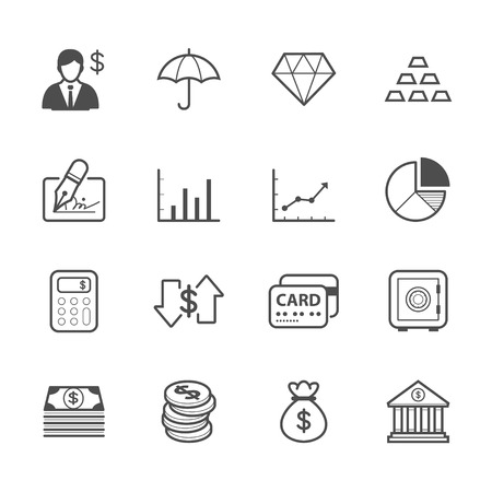 withdrawing: Business and Finance Icons Illustration