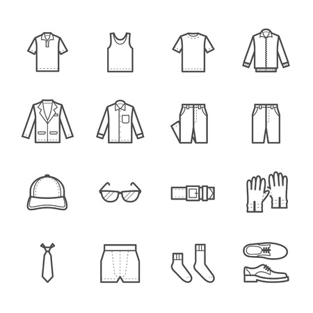 Heren Kleding Icons Stock Illustratie