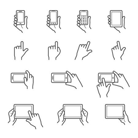Hand aanraken van het scherm Pictogrammen Stock Illustratie