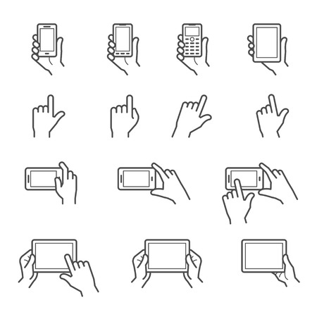 mobile phone screen: Hand Touching Screen Icons