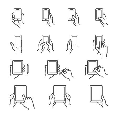 symbol hand: Hand ber�hrt Bildschirm Icons