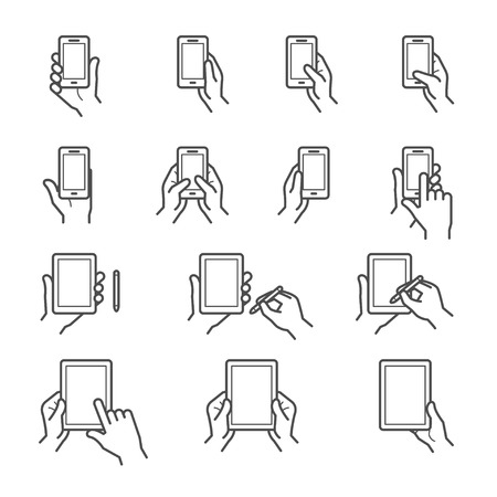 Hand Touching Screen Icons
