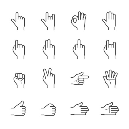 ok sign language: Hands Icons