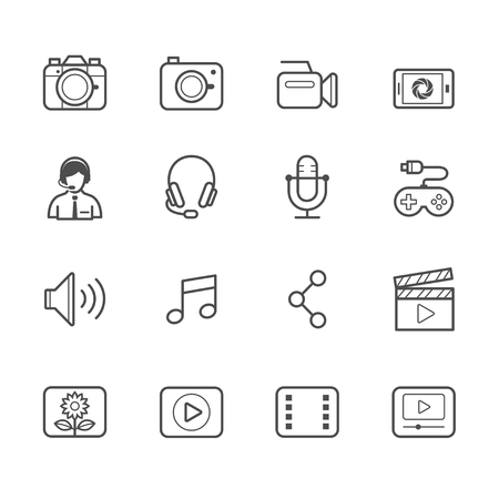 multimedia icons: Multimedia Icons Illustration