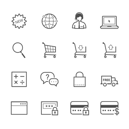package printing: e-commerce and online shopping icons Illustration