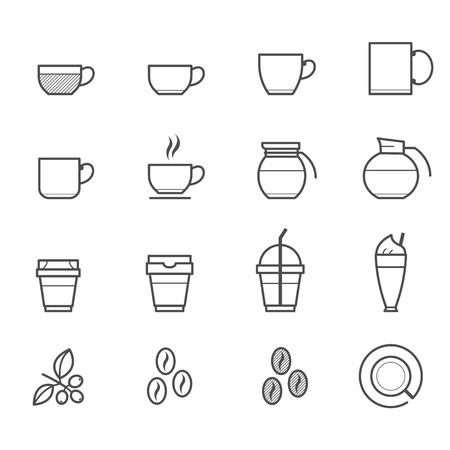 コーヒーカップ: コーヒーとコーヒー カップのアイコン  イラスト・ベクター素材