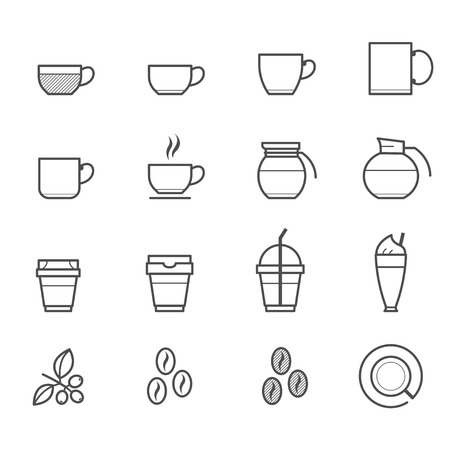 brewed: Coffee and Coffee cup Icons Illustration