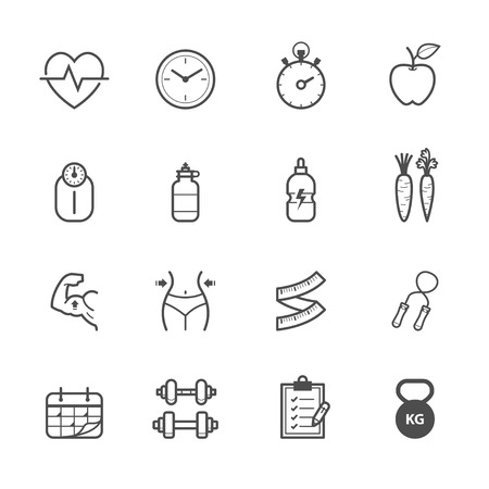 Fitness Icons and Health Icons Illustration