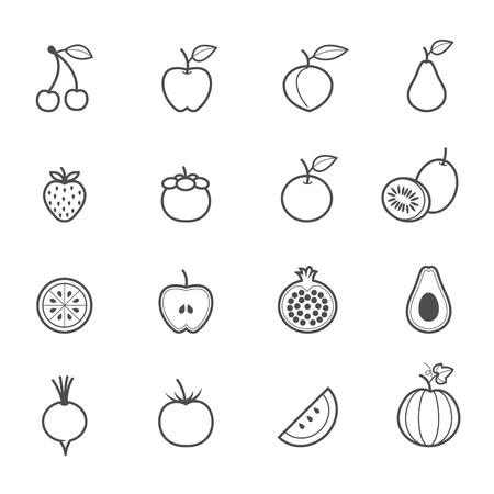 Fruits and Vegetables Icons Ilustração