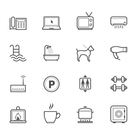 hotel icons: Hotel and Hotel Amenities Services Icons