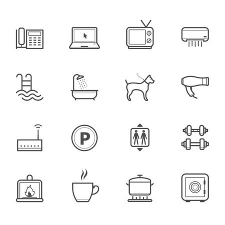 Hotel en Hotel voorzieningen Services Icons