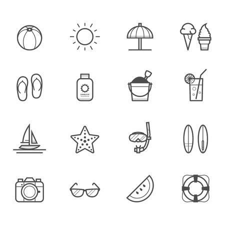 Summer Icons and Beach Icons Illustration
