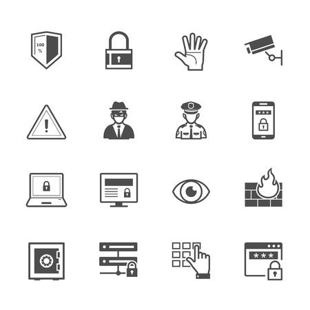 Icônes de sécurité avec un fond blanc Banque d'images - 39878372