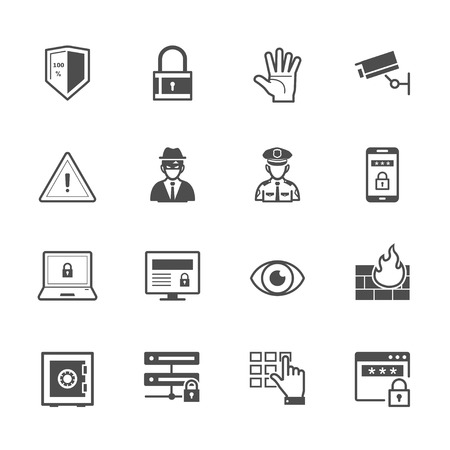 Security Icons with White Background Stock Illustratie