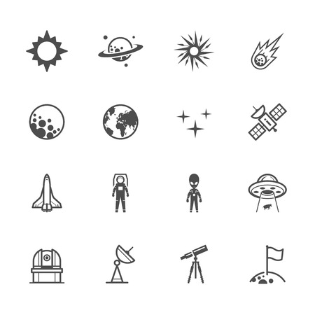 Space Icons met een witte achtergrond Stock Illustratie