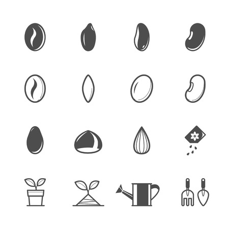 beans and rice: Seed Icons with White Background