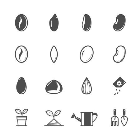 Seed Pictogrammen met een witte achtergrond Stock Illustratie