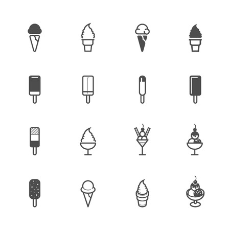 chocolate mint: Ice cream Icons with White Background Illustration