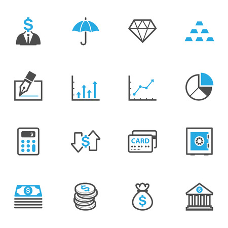dollar bag: Business and Finance Icons Illustration
