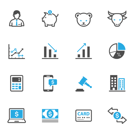 stock illustration: Business and Finance Icons Illustration