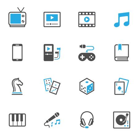 Iconos de entretenimiento Ilustración de vector