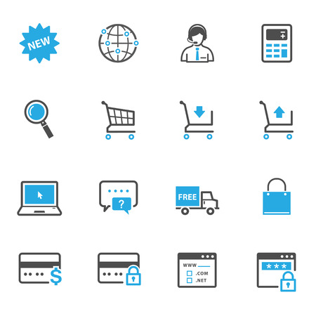 shopping cart icon: e-commerce and online shopping icons Illustration