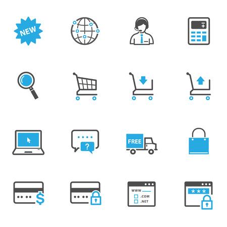 e-commerce en online winkelen pictogrammen