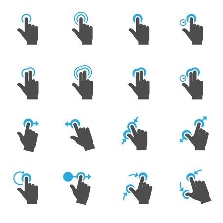 dedo: Gestos de toque Icons Ilustração