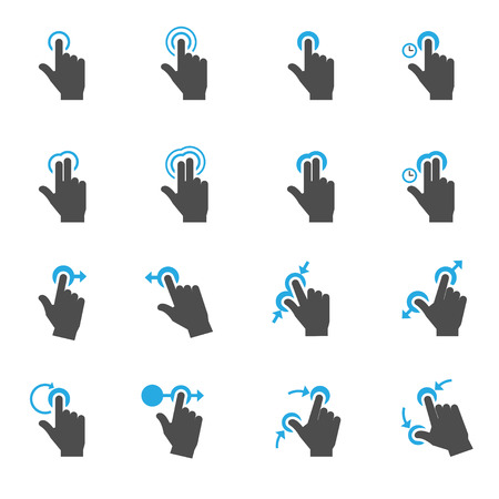 touch screen computer: Touch Gestures Icons