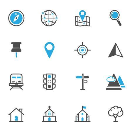 Kaart Pictogrammen en locatie Icons
