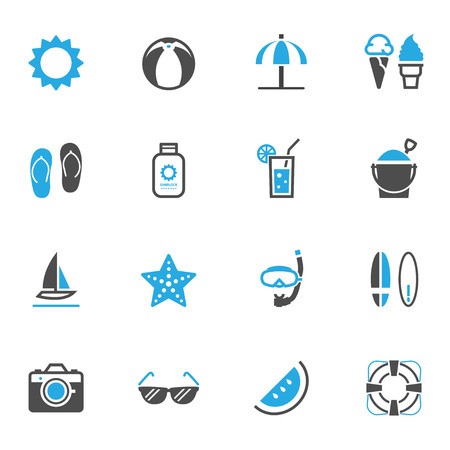 watermelon boat: Summer Icons and Beach Icons Illustration