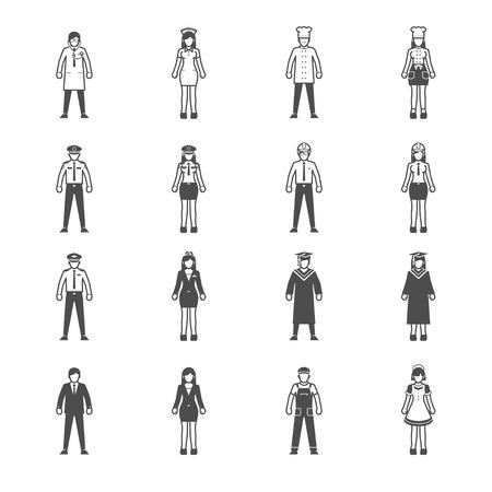 cartoon engineer: People and Occupation icon set
