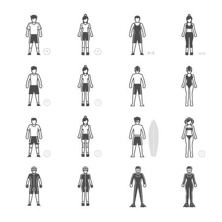 biking glove: People and Sport Player icon set Illustration