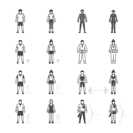 weightlifting gloves: People and Sport Player icon set Illustration