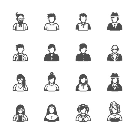 nuns: People Icons with White Background Illustration