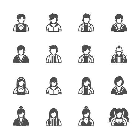 hooded sweatshirt: People Icons with White Background Illustration