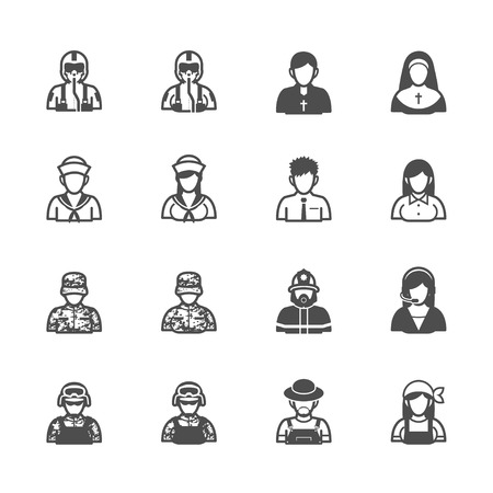 nun: People and Occupation Icons with White Background