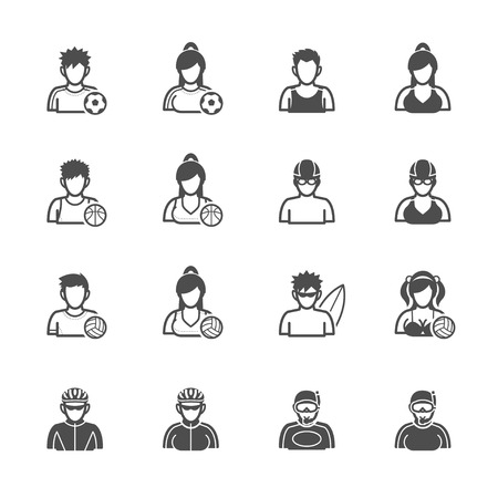 biking glove: People and Sport Player Icons with White Background