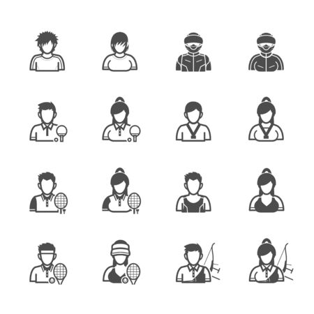 table skirt: People and Sport Player Icons with White Background
