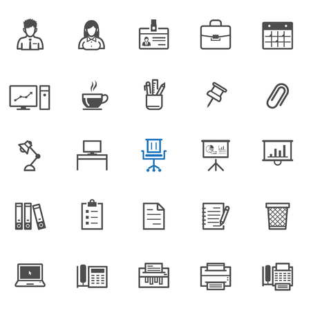 human resource: Office and Business icons with White Background Illustration