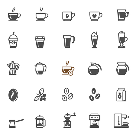 background coffee: Coffee icons with White Background